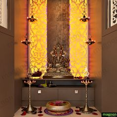 Placement of everything in your house or workplace is of great value in Vastu, as everything gives out positive or negative energy. Interior Decorators in Bangalore guides with the correct placemen Pooja Room Door Design, Bedroom Door Design, Home Decor Bedroom, Home Temple, Temple Room, Small Bedroom Ideas For Couples, Temple Design, Altar Design, Mandir Design