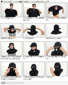 How to turn your t-shirt into a ninja mask. XD not something i would do but haha, i guess if you're totally desperate?