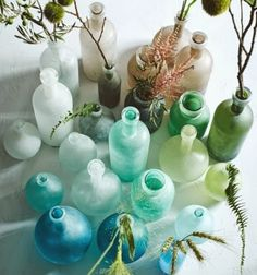 Paint Glass Bottles in Frosted Seaglass Colors