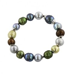 """Sterling Silver 9-12mm Dark Multi Ringed Freshwater Cultured Pearl on Chocolate Leather 7.5"""" Bracelet"""