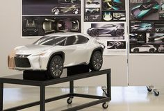 Clay model of the Lexus UX concept partially covered in Di-Noc sits in Toyotas ED2 studio > http://www.formtrends.com/meet-designers-lexus-ux-concept/