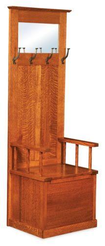 antique oak entry hall tree with storage bench  u0026 beveled