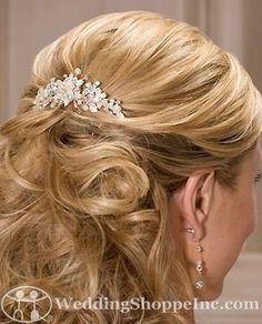bridal hair long half up comb - Google Search