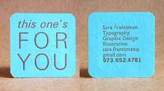 A unique square card with color that pops.