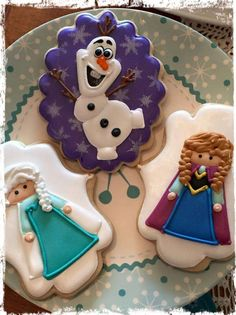 Anna, Elsa and Olaf cookies from a Frozen ice skating birthday party! See more party ideas at CatchMyParty.com!