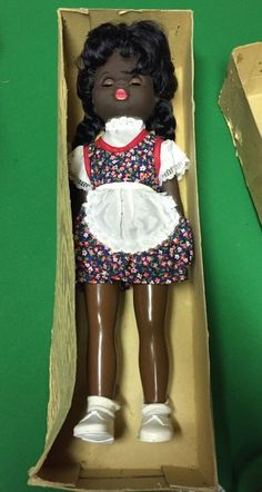 "Vintage 1960's Black Sonni Doll 14"" Tall - Made in GDR - With Box No 30140/231/ 