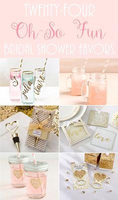 http://www.theweddingguru.ca/fun-bridal-shower-favors/ #bridalshower #favor Bridal Shower Favors - coasters, tea, wine stopper, key chain, champagne flute, stemless wine glass, mason jars, manicure sets, honey, measuring spoons, ice cream scoop, tea infuser, whisk, bottle opener.