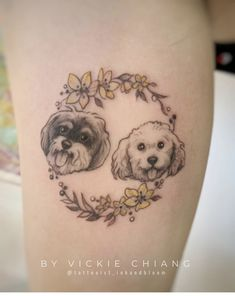lucky with symbolic wreath around Animal Tattoos, Flower Tattoos, Pup, Tattoo Ideas, Symbols, Dogs, Flowers, Animals, Animales