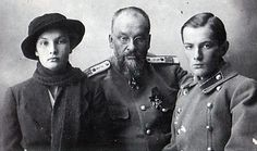 Dr Yevgeneii Botkin with his daughter Tatiana and son Gleb. Dr Botkin was murdered with Tsar Nicholas II and his family in 1918.