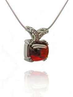 Custom - Malaya Garnet and Diamond Pendant