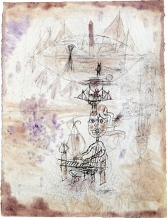 """Paul Klee 'Song of the Journey by Ship' 1918 Chalk,ink and watercolor on paper on board 11.61 x 8.98"""""""
