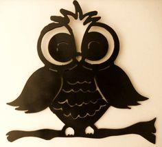Owl on branch,Wildlife,Cabin,Metal Art,Lodge, forest, woodland, camping, bird. $24.95, via Etsy.