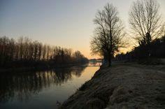 Masio in AL e il suo lungo fiume all'alba, dal campo pratica di pesca della fipsas