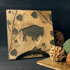 Natural Stone Trivet / Hot Plate - Buffalo on Buff Slate by stonegifts on Etsy