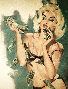 blonde pinup with money cash