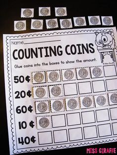 Teaching Money - Skip counting by 10 with dimes and other fun coin activities Counting Money Worksheets, Money Activities, Kindergarten Math Worksheets, Teaching Math, Activities For Kids, Vocational Activities, Teaching Ideas, Summer Worksheets, Tracing Worksheets