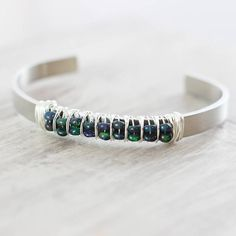 Opal Aluminum and Sterling Silver Cuff Bracelet