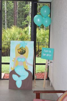 Mermaid birthday party face in the hole
