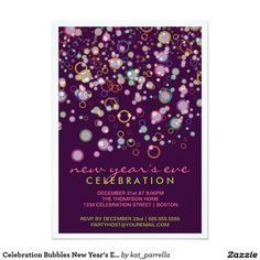 celebration bubbles new years eve party invitation