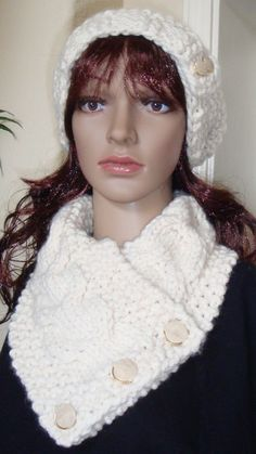Slouchy Beanie Cowl Set in Ivory winter white hat by LolasWonders Slouchy Beanie Hats, Cowls, Winter White, Scarves, Crochet Hats, Ivory, Trending Outfits, Unique Jewelry, Crafts