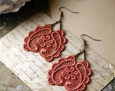 FALL jewelry - lace earrings -GALIA- copper