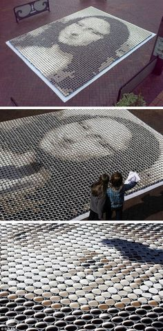 Coffee Mona Lisa - 3,604 cups of coffee — four shades using different amounts of coffee and milk