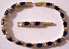 Blue Faux Sapphire Crystal Bracelet Gold Tone Vintage Large Oval Faceted Clear Stones Adjustable Length