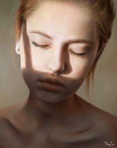 """Alice"" - Elena Sai {figurative realism art beautiful female head hair #hyperreal young woman face portrait cropped digital painting #loveart #2good2btrue} elenasai.deviantart.com"
