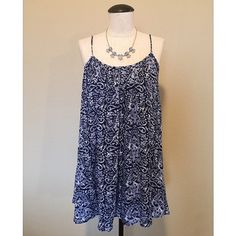 Spaghetti Strap Flouncy (Blue) Dress sz S NWOT Spaghetti Strap Flouncy (Blue) Dress sz S NWOT by Forever21  It is a size S but could fit a size M as well. The necklace is NOT included, sold separately.                                                                  NO TRADES NO PAYPAL Forever 21 Dresses
