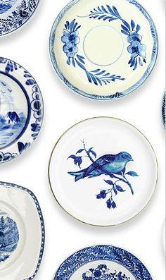 papel pintado porcelana azul, telas & papel