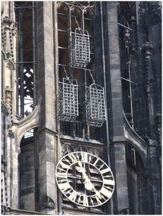 MUENSTER (GERMANY): Attached to the spire of St Lamberti´s Church in Muenster the observer discovers three cages. In the mid-16th century, the corpses of the Baptist movement leaders were hung there.