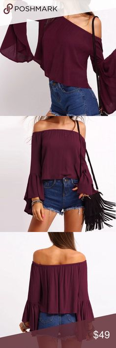 Just listed! Burgundy bell sleeve Off Shoulder Top Just listed will add additional photos shortly. Newest addition to my closet! Trend Setter Diva Boutique Tops