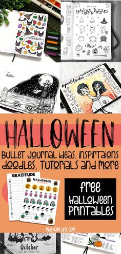 Got tons of Halloween Bullet Journal ideas - doodle tutorials, headers, Bullet Journal spreads. All the inspiration you need to create your own amazingly spooky Halloween Bullet Journal layouts, including - cover page, monthly log, weekly spreads. habit trackers and more. #mashaplans #bulletjournal #halloween #bujoideas Bullet Journal Hacks, Bullet Journal How To Start A, Bullet Journal Themes, Bullet Journal Spread, Bullet Journal Layout, Bullet Journal Inspiration, Bullet Journals, Halloween Doodle, Spooky Halloween