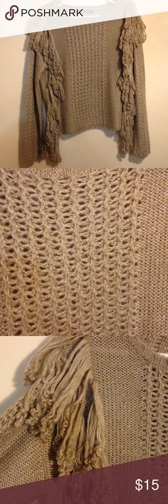 """Long Sleeve Fancy Sweater Worn once and in excellent condition. Intricately detailed with a basket weave design. Taupe colored and has fringes from the shoulders down to the hemline! 100% Acrylic and measures   23"""" Sweaters Crew & Scoop Necks"""