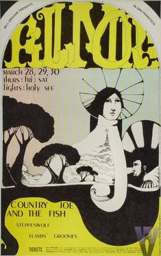 Classic Poster - COUNTRY JOE & THE FISH.. at Fillmore Auditorium 3/28-30/68 by Dana W. Johnson