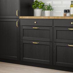Modern Farmhouse Kitchens, Black Kitchens, Ikea Kitchens, Farmhouse Sinks, Small Kitchens, Black Ikea Kitchen, Farmhouse Style, Interior Design Kitchen, Home Design
