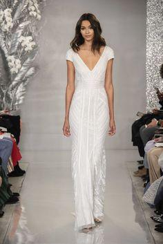 20 Beach Wedding Dresses for Easy, Breezy Style - sequin wedding dress - Dress by THEIA {Rodin Banica} V Neck Wedding Dress, Top Wedding Dresses, Wedding Dress Trends, Wedding Gowns, Bridal Gowns, Wedding Ideas, Theia Bridal, Sequin Wedding, Vogue