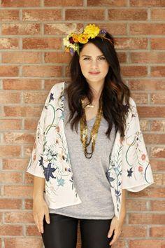 kimono, leather leggings, flower crown