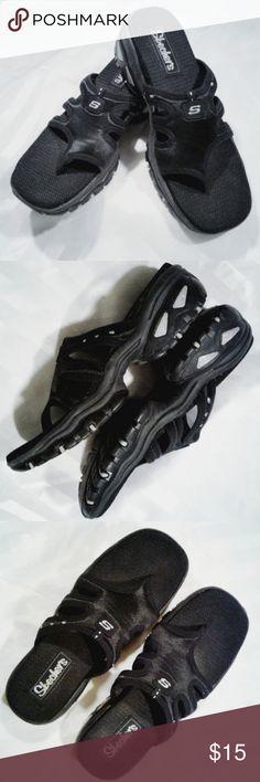 b157ea349ffdac Elegant Flip Flop Heels Sz 9 black Skechers