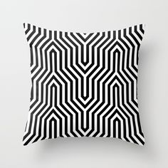 Retro Chevron B&W Throw Pillow by Bitart - Cover x with pillow insert - Indoor Pillow Nordic Home, Nordic Interior, Uo Home, Small Home Offices, Pastel Interior, Chevron Throw Pillows, Scandinavian Bedroom, Bohemian Decor, Pillow Shams