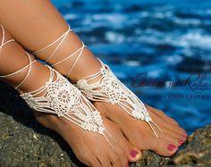 Wedding White Crochet Barefoot Sandals Foot Jewelry Beach by ZHAVI