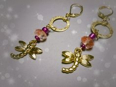 #OMGQ! Little Gems Pink Dragonfly  earrings