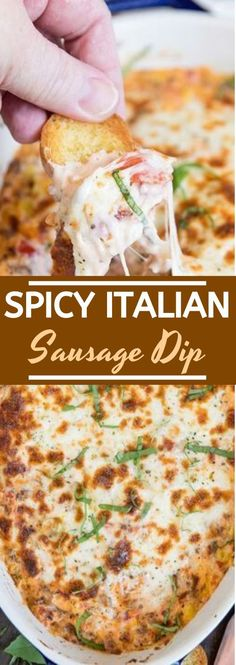 Italian Sausage Dip Dinner Party Appetizers, Sausage Appetizers, Spicy Appetizers, Sausage Dip, Easy Appetizer Recipes, Appetizer Dips, Dinner Recipes, Party Recipes, Italian Food Appetizers