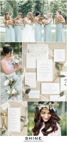 Simple and Classic Wedding Invitations | Pantone Greenery Wedding Inspiration | Poppy Wedding Invites