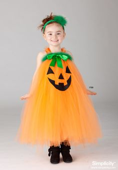Pumpkin Tutu Costume for your toddler! Adorable for #Halloween this year! #SimplicityPatterns