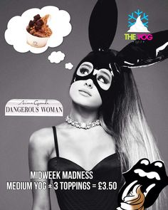 Who has heard @arianagrande new single out today!? It is !! We think she's daydreaming about something other than being a dangerous woman though!  Remember today is Midweek Madness!! Medium for the price of a small with a free topping! Mad!! #arianagrande #ariana #dangerouswoman #midweekmadness #theyogbar #wednesdayoffer #wednesdaydeal #midweekoffer #wednesday #yogbar #wirral #hoylake #westkirby #liverpool #greattimes by theyogbar