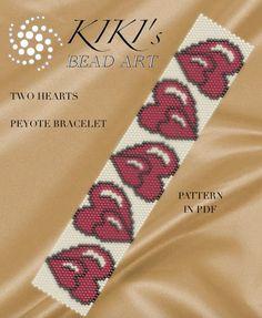 Pattern, peyote bracelet - Two hearts peyote bracelet cuff pattern in PDF instant download