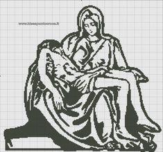 """schema monocolore punto croce """"La Pietà"""""""