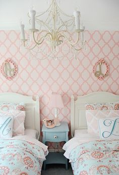 Stenciled Accent Wall for Girls Bedroom - I spy & Lily bedding & a Barn Kids chandelier in this gorgeous - Nicole from PN's pick Kids Chandelier, Room, Twins Room, Shared Bedroom, Home Decor, Room Inspiration, Girl Room, Room Decor, Bedroom Decor