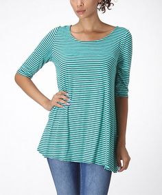 Love this Mint & Black Stripe Swing Tunic - Women & Plus on #zulily! #zulilyfinds